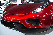 """New York, NY, USA-23 March 2016. The aggressive nose of the Koenigsegg Regera. The model, a hybrid luxury """"megacar"""" which retails for US $2m, will be limited to 80 examples worldwide."""