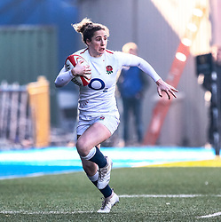Abby Dow of England<br /> <br /> Photographer Simon King/Replay Images<br /> <br /> Six Nations Round 3 - Wales Women v England Women - Sunday 24th February 2019 - Cardiff Arms Park - Cardiff<br /> <br /> World Copyright © Replay Images . All rights reserved. info@replayimages.co.uk - http://replayimages.co.uk