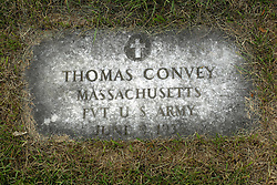 31 August 2017:   Veterans graves in Park Hill Cemetery in eastern McLean County.<br /> <br /> Thomas Convey Massachusetts Private US Army  June 9 1935