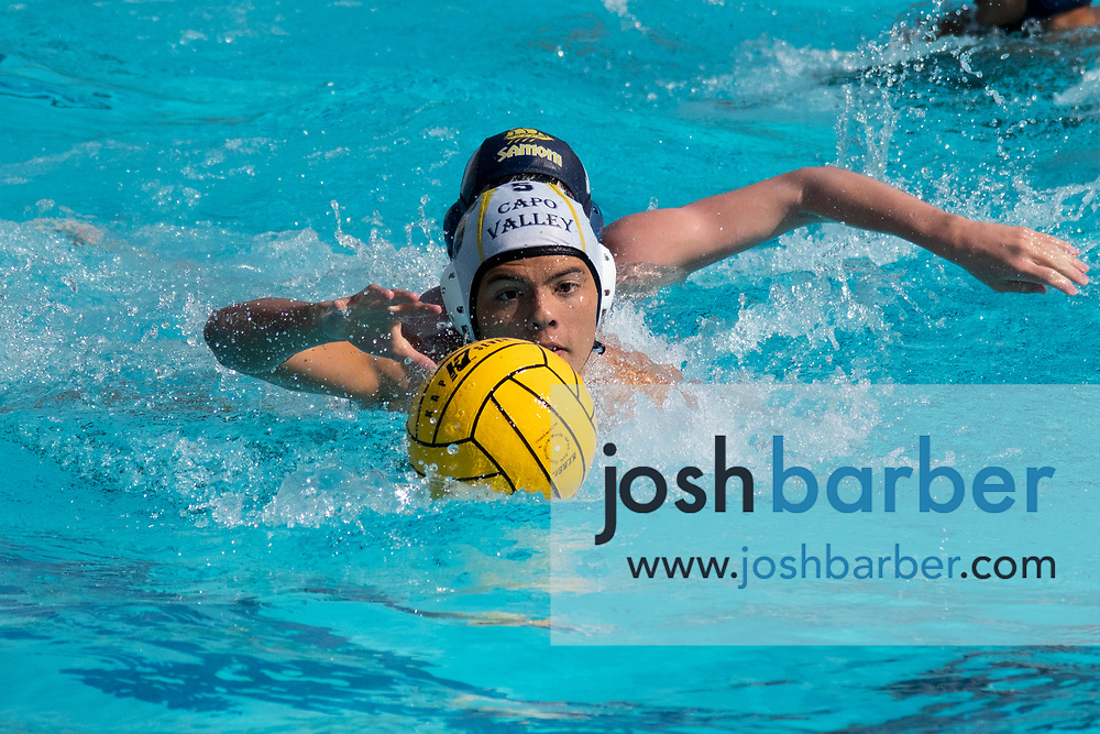 Capistrano Valley's Andrew Freitas during the CIF-SS Division 4 boys water polo Final at William Woollett Jr. Aquatic Center on Saturday, November 10, 2018 in Irvine, Calif. (Photo by Josh Barber, Contributing Photographer)