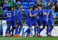 Callum Paterson of Cardiff City celebrates his goal after making it 1-0- Mandatory by-line: Nizaam Jones/JMP - 17/02/2018 -  FOOTBALL - Cardiff City Stadium - Cardiff, Wales -  Cardiff City v Middlesbrough - Sky Bet Championship