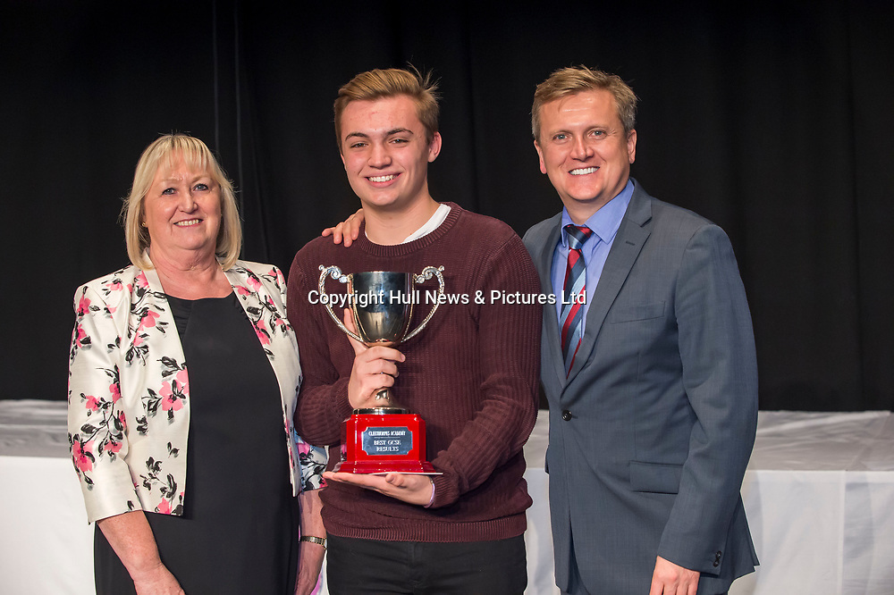 10 October 2017: Cleethorpes Academy Presentation Evening at Grimsby Auditorium. The guest speaker was Aled Jones MBE who presented the awards and also visited the Academy earlier in the day.<br /> Best GCSE Results winner Alasdair Jukes. Pictured left is Principal Janice Hornby.<br /> Picture: Sean Spencer/Hull News & Pictures Ltd<br /> 01482 210267/07976 433960<br /> www.hullnews.co.uk         sean@hullnews.co.uk
