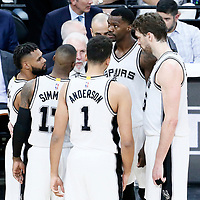 01 May 2017: San Antonio Spurs guard Patty Mills (8), San Antonio Spurs guard Jonathon Simmons (17), San Antonio Spurs guard Kyle Anderson (1), San Antonio Spurs guard Jonathon Simmons (17) and San Antonio Spurs center Pau Gasol (16) are seen listening to San Antonio Spurs head coach Gregg Popovich during the Houston Rockets 126-99 victory over the San Antonio Spurs, in game 1 of the Western Conference Semi Finals, at the AT&T Center, San Antonio, Texas, USA.