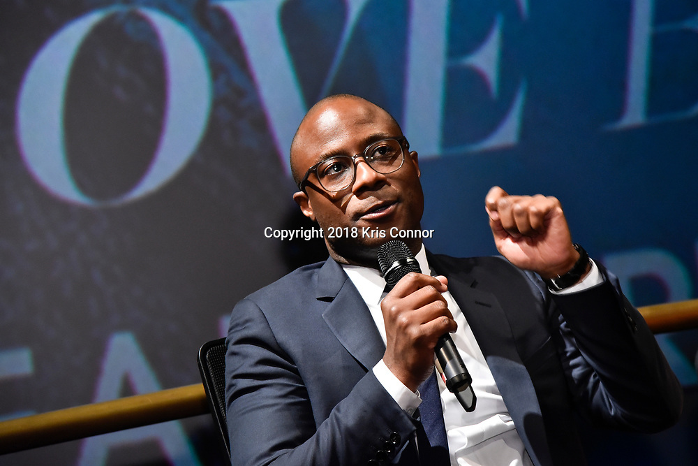 """WASHINGTON, DC - OCTOBER 27: Director/screenwriter Barry Jenkins speaks during a Q&A the closing night screening of """"IF BEALE STREET COULD TALK"""" at the inaugural Smithsonian African American Film Festival 2018 at National Air and Space Museum in Washington DC on October 27th, 2018. (Photo by Kris Connor/Annapurna Pictures)"""