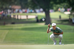 August 5, 2018 - Akron, OH, U.S. - AKRON, OH - AUGUST 05:   Thorbjorn Olesen (DEN) lines up his putt on the fifth green during the final round of the World Golf Championships - Bridgestone Invitational on August 5, 2018 at the Firestone Country Club South Course in Akron, Ohio. (Photo by Shelley Lipton/Icon Sportswire) (Credit Image: © Shelley Lipton/Icon SMI via ZUMA Press)