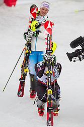 16.02.2013, Planai, Schladming, AUT, FIS Weltmeisterschaften Ski Alpin, Slalom, Damen, 2. Durchgang, im Bild Michaela Kirchgasser (AUT, 2. Platz), Mikaela Shiffrin (USA, 1. Platz) //  2nd place Michaela Kirchgasser of Austria, 1st place Mikaela Shiffrin of United States, 2nd place Michaela Kirchgasser of Austria reacts after 2nd run of the ladies Slalom at the FIS Ski World Championships 2013 at the Planai Course, Schladming, Austria on 2013/02/16. EXPA Pictures © 2013, PhotoCredit: EXPA/ Johann Groder