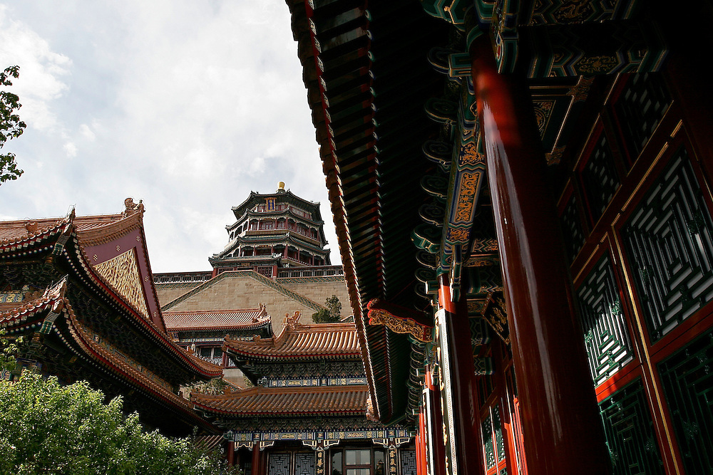 The Tower of Buddhist Incense located inside the Summer Palace.  The Summer Palace in north west Beijing, China was built in the Jin Dynasty.  The Summer Palace is over 700 acres, 3/4 of which is the Kunming Lake.