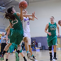 010215       Cable Hoover<br /> <br /> Miyamura Patriot Hannah Murphy (15) is fouled by Moriarty Pinto Emily Gonzalez (23) Friday at Miyamura High School.
