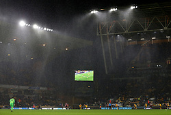 A general view of rain falling during the game between Wolverhampton Wanderers' and AFC Bournemouth