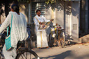 A man reads his newspaper on the streets of Pondicherry, India<br /> Pondicherry now Puducherry is a Union Territory of India and was a French territory until 1954 legally on 16 August 1962. The French Quarter of the town retains a strong French influence in terms of architecture and culture.