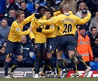 Photo: Glyn Thomas.<br />Birmingham City v Arsenal. The Barclays Premiership. 04/02/2006.<br />Arsenal's Emmanuel Adebayor (2nd, L) celebrates after scoring.