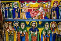 Fresco from the 17th century of the Nine Saints, a group of missionaries who were important in the initial growth of Christianity in what is now Ethiopia in the late 5th century. Old Church of St. Mary Zion, Axum (Aksum), Ethiopia.