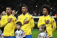 Gabriel Jesus, Paulinho and Willian (Brazil) during the International Friendly Game football match between Germany and Brazil on march 27, 2018 at Olympic stadium in Berlin, Germany - Photo Laurent Lairys / ProSportsImages / DPPI