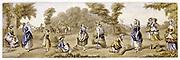 Harvest Time': 'Baxter' print c1855. Romanticised view of 18th century English harvest  scene. Oleograph