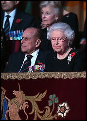 November 12, 2016 - London, United Kingdom - Image ©Licensed to i-Images Picture Agency. 12/11/2016. London, United Kingdom. Royal Festival of Remembrance. .Queen Elizabeth II and the Duke of Edinburgh attend the annual Royal Festival of Remembrance at the Royal Albert Hall in London...Picture by  i-Images / Pool (Credit Image: © i-Images via ZUMA Wire)