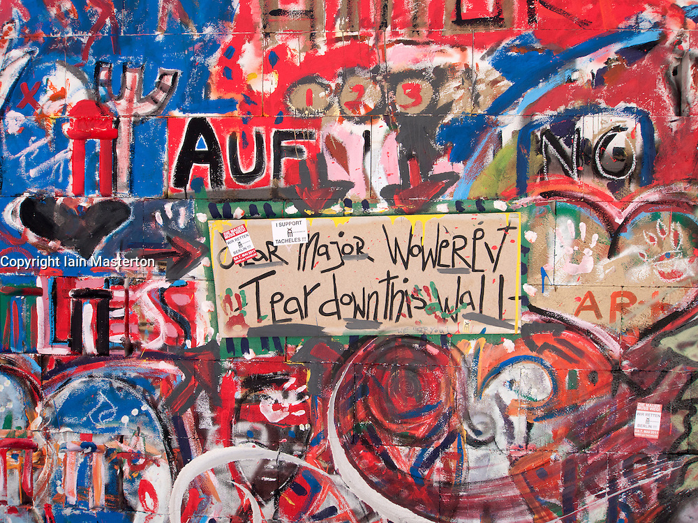Protest sign against closure at the Tacheles Kunsthaus or Art Gallery alternative collective on Oranienburger strasse in Mitte Berlin Germany