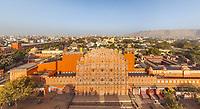 Aerial view of Hawa Mahal palace, Jaipur, India.