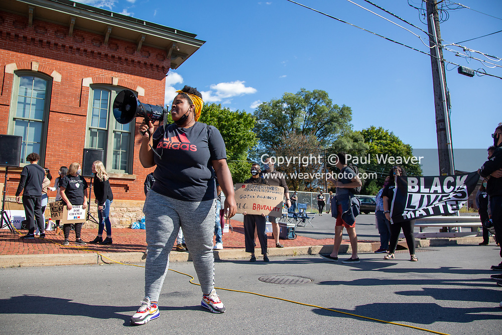 Bloomsburg University student Brittany Stephenson speaks at a Black Lives Matter rally outside of the police station in Milton, Pennsylvania on September 20, 2020. (Photo by Paul Weaver)