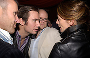 Tim Fountain,  Jack Davenport,  Toby Young and Michelle Gomez. ( Mrs. Jack Davenport) 'How to lose Friends and alienate people' by Toby Young performed at the  Soho Theatre, party at Opium. 30 April 2003. © Copyright Photograph by Dafydd Jones 66 Stockwell Park Rd. London SW9 0DA Tel 020 7733 0108 www.dafjones.com
