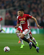 Jesse Lingard of Manchester Utd in action.EFL Cup Final 2017, Manchester Utd v Southampton at Wembley Stadium in London on Sunday 26th February 2017. pic by Andrew Orchard, Andrew Orchard sports photography.<br /> contact and payments to Andrew Orchard, 2 Old Vicarage close,