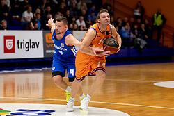 Zan Kosic of KK Rogaska and Jure Mocnik of KK Helios Suns during basketball match between KK Helios Suns and KK Rogaska in ABA League Second division, on October 31, 2018 in Sports hall Domzale, Domzale, Slovenia. Photo by Urban Urbanc / Sportida