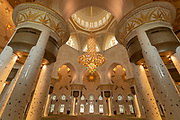 Interior of the Sheikh Zayed Mosque, the largest mosque in United Arab Emirates, constructed between 1996 and 2007, Abu Dhabi, United Arab Emirates