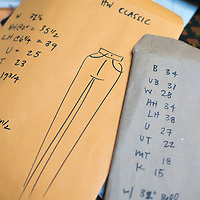 Clothing patterns with measurements at Bow + Arrow Apparel by Anna Toth, located in the Wedge Studios in the River Arts District of Asheville, North Carolina.