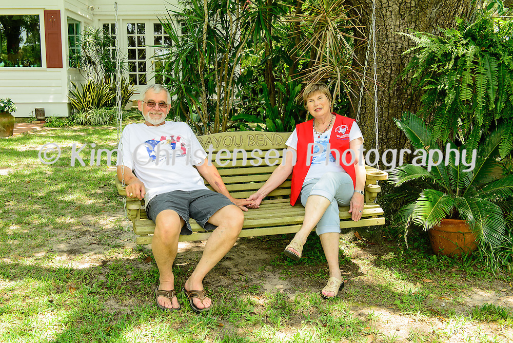 Judy and Ben Svoboda of Dickinson have acreage along Dickinson Bayou.  Ben is a retired veterinarian who began renting the place in the early '70s for a mere $50 a month. Was 12 acres at the time on the bayou with a 5-bedroom house built in 1927. He was eventually able to buy the house and 8 acres of the property. The Svoboda's fixed up the house a bit but left its vintage personality, added many flower beds and gardens to the yard. 05/11/16.  (Photos by ©Kim Christensen)