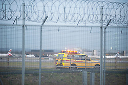 © Licensed to London News Pictures. 20/12/2018. Gatwick, UK. Airport security car, Drone has closed Gatwick airport with all flights in and out cancelled while police hunt for drone pilot deliberately targeting airport.Photo credit: Grant Falvey/LNP