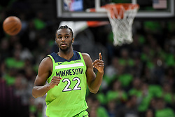December 16, 2017 - Minneapolis, MN, USA - The Minnesota Timberwolves' Andrew Wiggins (22) reacts after converting a 3-point basket in the second quarter against the Phoenix Suns on Saturday, Dec. 16, 2017, at Target Center in Minneapolis. (Credit Image: © Aaron Lavinsky/TNS via ZUMA Wire)