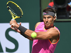 March 15, 2019 - Indian Wells, CA, U.S. - INDIAN WELLS, CA - MARCH 15:  Rafael Nadal (ESP) in  action defeating Karen Khachanov (RUS) in the men's singles quarterfinal on March 15, 2019, during the BNP Paribas Open at the Indian Wells Tennis Garden in Indian Wells, CA. (Photo by Cynthia Lum/Icon Sportswire) (Credit Image: © Cynthia Lum/Icon SMI via ZUMA Press)