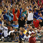 NEW YORK, NEW YORK - May 29:  Australian cricket captain Steve Smith, (center of frame) and other Australian cricketers during a Mexican wave at the Los Angeles Dodgers Vs New York Mets regular season MLB game at Citi Field on May 29, 2016 in New York City. (Photo by Tim Clayton/Corbis via Getty Images)