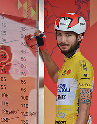 September 16, 2016 - Wuhan, China - The Yellow Jersey Mattia De Marchi from Androni Giocattoli team signs in ahead of the final sixth stage, 99.6km Wuhan Xinzhou Circuit race, of the 2016 Tour of China 1..On Friday, 16 September 2016, in Xinzhou, Wuhan , China. (Credit Image: © Artur Widak/NurPhoto via ZUMA Press)