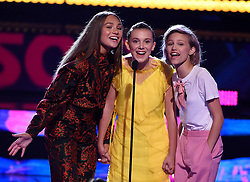 LOS ANGELES - AUGUST 13: L-R: Maddie Ziegler, Millie Bobby Brown and Grace VanderWaal onstage at FOX's 'Teen Choice 2017' at the Galen Center on August 13, 2017 in Los Angeles, California. (Photo by Frank Micelotta/FOX/PictureGroup) *** Please Use Credit from Credit Field ***