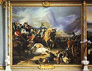 Napoleon at the Battle of Rivoli'. Rivoli (14-15 January 1797) defeat of Austria by French forces under Bonaparte. Henri Felix Emmanuel Philippoteaux (1815-1884). Galerie des Batailles,  Vcersailles. OIl on  canvas.