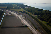 Nederland, Flevoland, Lelystad, 08-09-2009; aanleg Hanzelijn ten Noordoosten van Lelystad.Construction Hanzelijn (new railway) northeast of Lelystad.luchtfoto (toeslag); aerial photo (additional fee required); .foto Siebe Swart / photo Siebe Swart