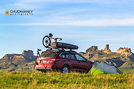 Remote campsite near Finger Buttes in Carter County, Montana, USA