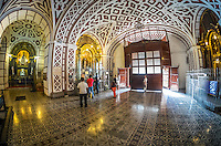 LIMA, PERU - CIRCA APRIL 2014: People worshiping at the Monastery of San Francisco in the Lima Historic Centre in Peru