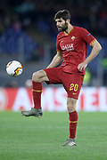 Federico Fazio of AS Roma during the UEFA Europa League, round of 32, 1st leg football match between AS Roma and KAA Gent, Thursday, Feb. 21, 2020,  in Rome, Italy. (Luca Pagliano/ESPA-Images-Image of Sport via AP)
