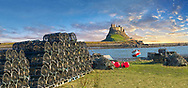 Lindisfarne Castle & Lobster Pots, fishing boat - 16th Century castle, Holy Island, Lindisfarne, Northumberland, England .<br /> <br /> Visit our ENGLAND PHOTO COLLECTIONS for more photos to download or buy as wall art prints https://funkystock.photoshelter.com/gallery-collection/Pictures-Images-of-England-Photos-of-English-Historic-Landmark-Sites/C0000SnAAiGINuEQ