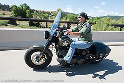 Nicole Billups on the Harley-Davidson Women's Angels Ride to benefit the Nature Conservancy during the annual Sturgis Black Hills Motorcycle Rally.  SD, USA.  August 12, 2016.  Photography ©2016 Michael Lichter.