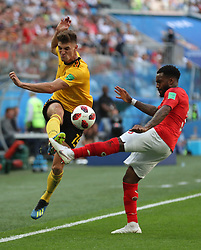 SAINT PETERSBURG, July 14, 2018  Danny Rose (R) of England vies with Thomas Meunier of Belgium during the 2018 FIFA World Cup third place play-off match between England and Belgium in Saint Petersburg, Russia, July 14, 2018. (Credit Image: © Fei Maohua/Xinhua via ZUMA Wire)