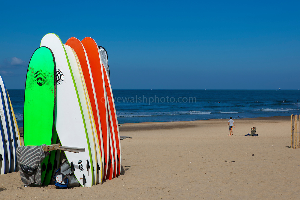 Surfboards on the beach at at Anglet, Biarritz, Pays Basque, France