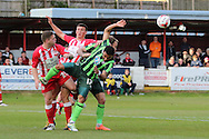 Andy Barcham midfielder for AFC Wimbledon (17) and Kelle Roos Goalkeeper for AFC Wimbledon (29) tussle during the Sky Bet League 2 play-off 2nd leg match between Accrington Stanley and AFC Wimbledon at the Fraser Eagle Stadium, Accrington, England on 18 May 2016. Photo by Stuart Butcher.