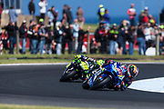 25th October 2019; Phillip Island Grand Prix Circuit, Phillip Island, Victoria, Australia; Australian Moto GP, Practice day; Alex Rins, Valentino Rossi during free practice 2 - Editorial Use