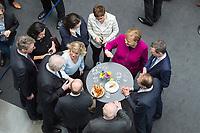12 MAR 2018, BERLIN/GERMANY:<br /> Angela Merkel (in pink), CDU, Bundeskanzlerin, Thomas Silberhorn, desig. Parl. Staatssekretaer im Bundesministerium für Verteidigung, Alexander Dobrindt, Vorsitzender der CSU Landesgruppe,  Volker Kauder, CDU, CDU/CSU Fraktionsvorsitzender, Olaf Scholz, SPD, desig. Bundesfinanzminister, Horst Seehofer, CSU, desig. Bundesinnenminister, Patrick Schnieder, MdB, CDU, Dorothee Baer, CSU, desig. Staatsministerin für Digitales, Daniela Ludwig, MdB, CSU, Vorsitzende der Arbeitsgruppe Verkehr und digitale Infrastruktur, Andrea Nahles, SPD Fraktionsvorsitzende, Annegret Kramp-Karrenbauer, CDU Generalsekretaerin, (im Uhrzeigersinn), nach der Unterzeichnung des Koalitionsvertrages der CDU/CSU und SPD, Paul-Loebe-Haus, Deutscher Bundestag<br /> IMAGE: 20180312-02-044<br /> KEYWORDS: Dorothee Bär