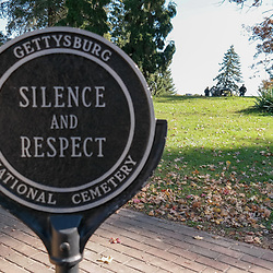 Gettysburg, PA / USA - October 19, 2014: The Silence and Respect Sign at the Gettysburg National Military Park.
