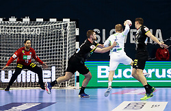Stas Skube of Slovenia vs Silvio Heinevetter of Germany during handball match between National Teams of Germany and Slovenia at Day 2 of IHF Men's Tokyo Olympic  Qualification tournament, on March 13, 2021 in Max-Schmeling-Halle, Berlin, Germany. Photo by Vid Ponikvar / Sportida