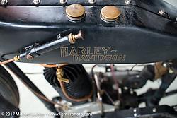 Joe Niles 1921 Harley-Davidson Model J 500 cc dirt track racer blanked off to single cylinder at Warren Lane's True Grit bike show at Destination Daytona during Daytona Beach Bike Week. FL. USA. Sunday March 12, 2017. Photography ©2017 Michael Lichter.