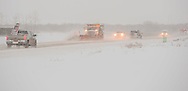 Photo Randy Vanderveen<br /> Grande Prairie, Alberta, Canada<br /> 2017-01-05<br /> A City of Grande Prairie snowplow clears the lane of 132 Avenue between 102 and 108 Street Thursday morning. Motorists are reminded that parking bans are in place on all snow routes and parking there could result in a ticket and/or towed vehicle as crews work on cleaning the main arteries in the city.
